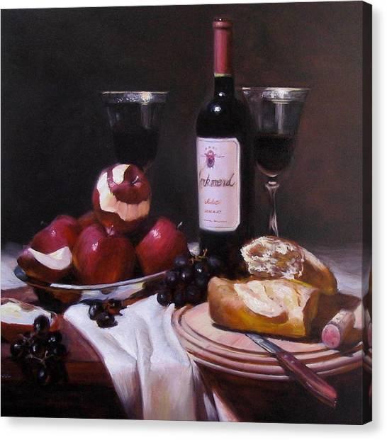 Wine With Peeled Apples Canvas Print by Takayuki Harada