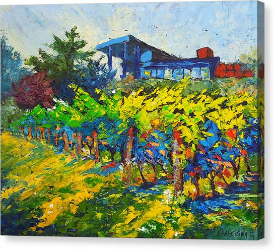 Winery Painting With Oils On Black Canvas Canvas Print