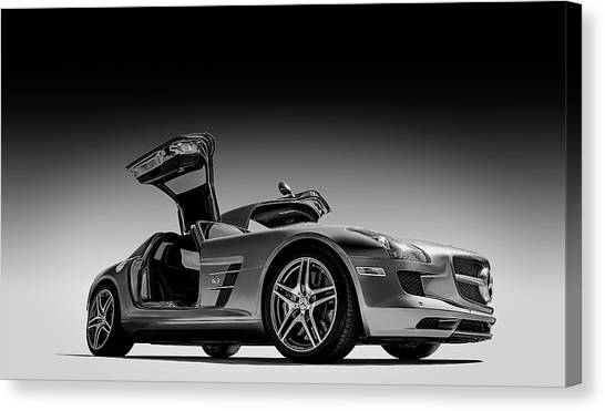 Black And White Canvas Print - Mercedes-benz Sls Amg by Douglas Pittman