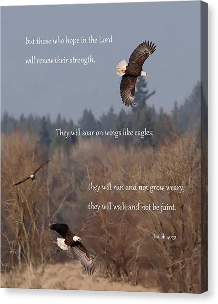 Bible Verses Canvas Print - Wings Like Eagles by Angie Vogel