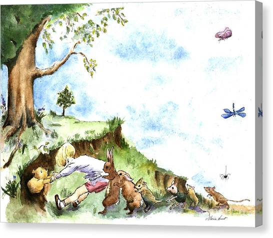 Teddy Bears Canvas Print - Helping Hands After E H Shepard by Maria Hunt