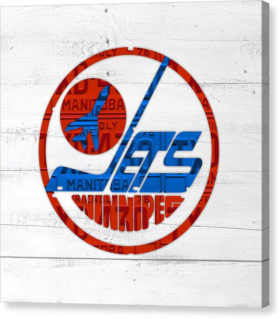 Winnipeg Jets Canvas Print - Winnipeg Jets Retro Hockey Team Logo Recycled Manitoba Canada License Plate Art by Design Turnpike
