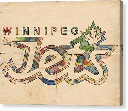 Winnipeg Jets Canvas Print - Winnipeg Jets Retro Poster by Florian Rodarte
