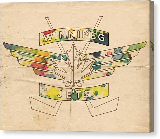 Winnipeg Jets Canvas Print - Winnipeg Jets Vintage Logo by Florian Rodarte