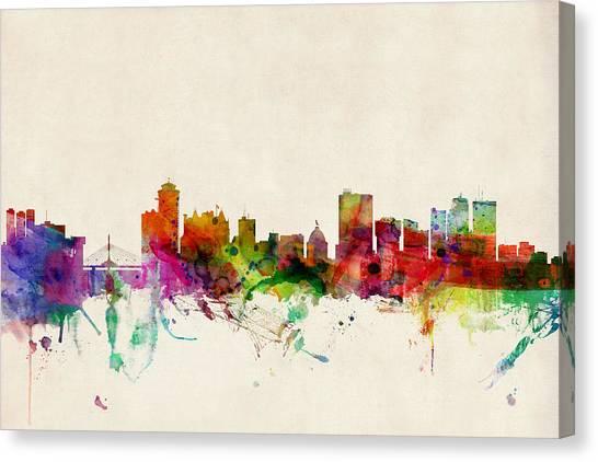 Canada Canvas Print - Winnipeg Skyline Canada by Michael Tompsett