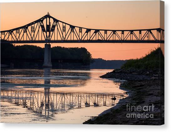 Canvas Print featuring the photograph Winona Bridge Photo Early Morning Bridge by Kari Yearous