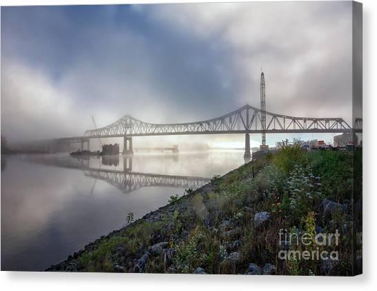 Winona Bridge With Fog Canvas Print
