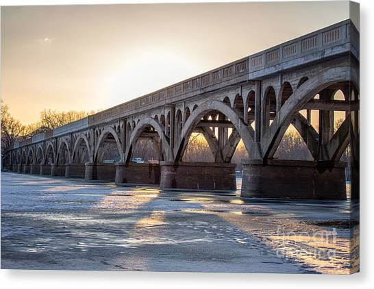 Canvas Print featuring the photograph Winona Wagon Bridge At Sunset by Kari Yearous