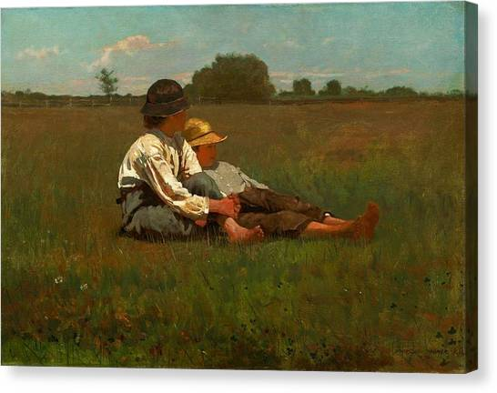 Winslow Canvas Print - Winslow Homer Boys In A Pasture by Winslow Homer