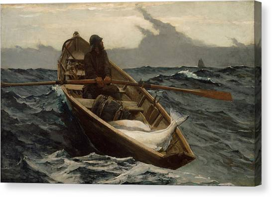 Boats Canvas Print - Winslow Homer The Fog Warning by Winslow Homer