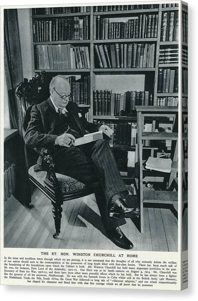 Winston Churchill  At Home, Reading Canvas Print by  Illustrated London News Ltd/Mar