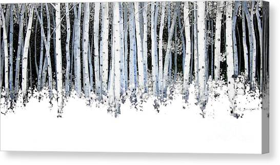 Artist Michael Swanson Canvas Print - Winter Aspens  by Michael Swanson