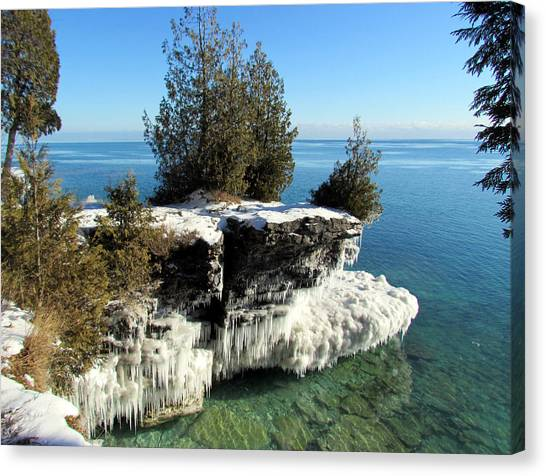 Winter At Cave Point Canvas Print