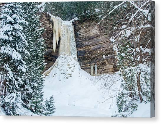 Winter At Munising Falls Canvas Print