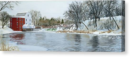 Winter At Phelps Mill Canvas Print