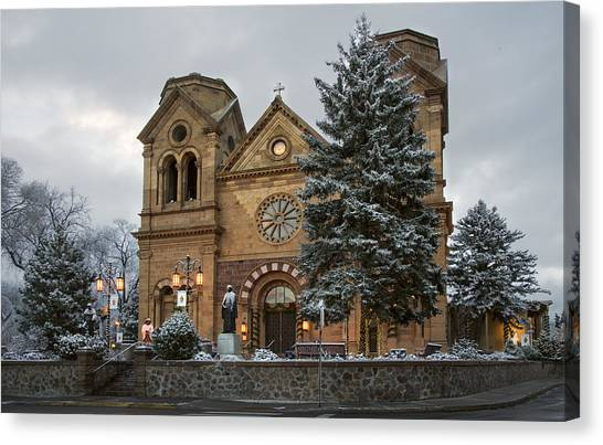 Winter At St Francis Cathedral In Santa Fe New Mexico Canvas Print