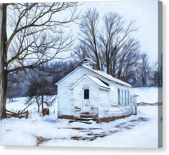 Winter At The Amish Schoolhouse Canvas Print