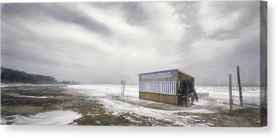 Lake Michigan Canvas Print - Winter At The Cabana by Scott Norris