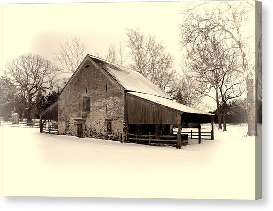 Winter At The Horse Barn Canvas Print