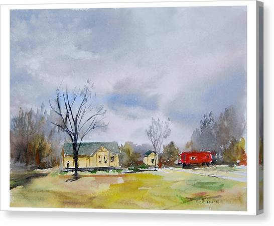 Canvas Print featuring the painting Origional  Sold - Winter At The Train Museum Tomball Tx by TD Wilson