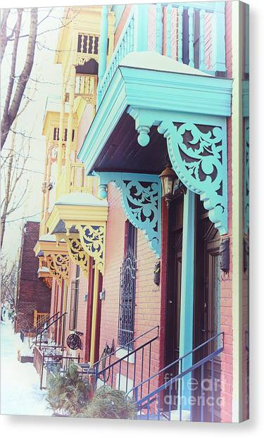 Quebec Canvas Print - Winter Balconies In Montreal by Jane Rix