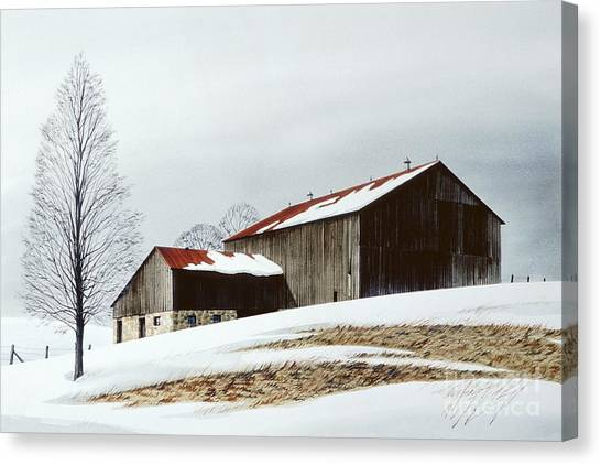 Artist Michael Swanson Canvas Print - Winter Barn by Michael Swanson