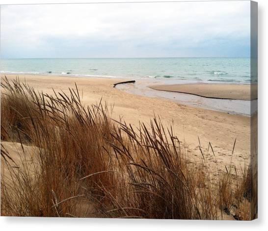 Winter Beach At Pier Cove Canvas Print