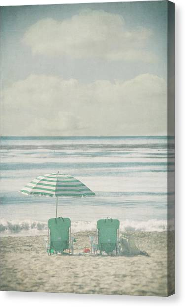 Winter Beach Chairs Canvas Print