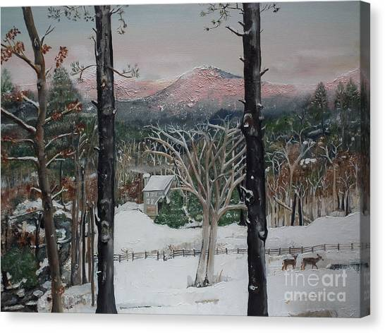 Winter - Cabin - Pink Knob Canvas Print