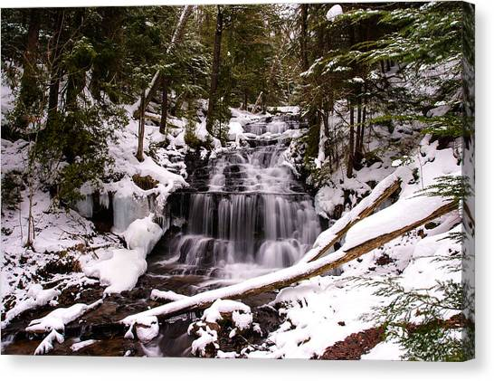 Alger Waterfalls Canvas Print - Winter Cascade by James Marvin Phelps