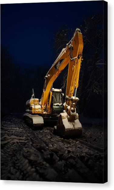 Excavators Canvas Print - Winter Cat by David Andersen