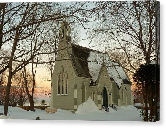 Winter Chapel Canvas Print