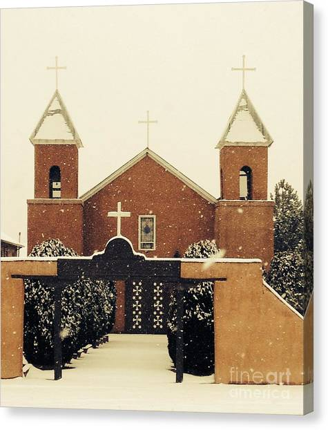 Winter Church Canvas Print