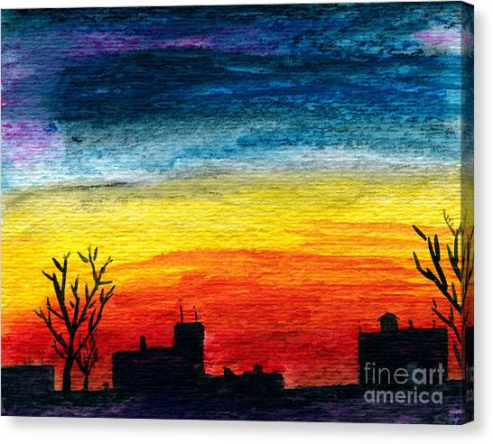 Winter City Twilight Canvas Print by R Kyllo