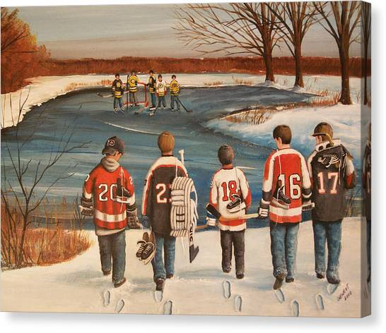 Hockey Players Canvas Print - Winter Classic - 2010 by Ron  Genest
