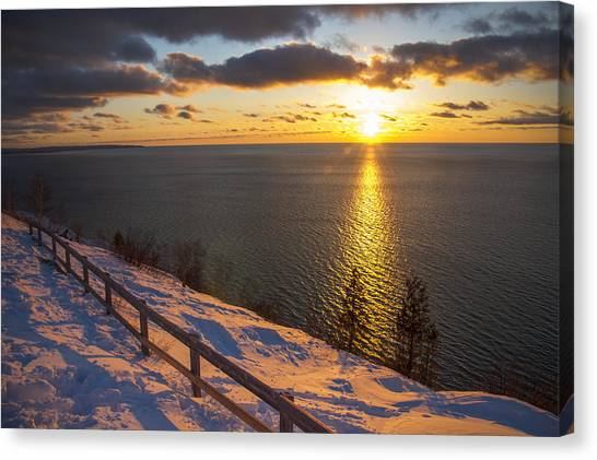 Winter Cliffs On Lake Michigan Canvas Print