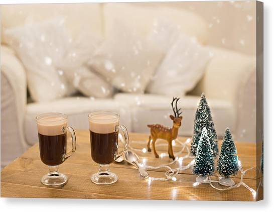 Christmas Lights Canvas Print - Winter Coffee by Amanda Elwell