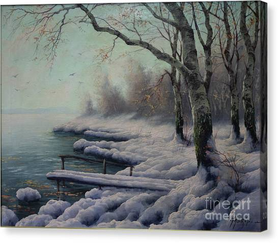 Winter Coming On The Riverside Canvas Print