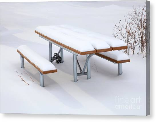 Picnic Tables Canvas Print - Winter Cover by Mike  Dawson