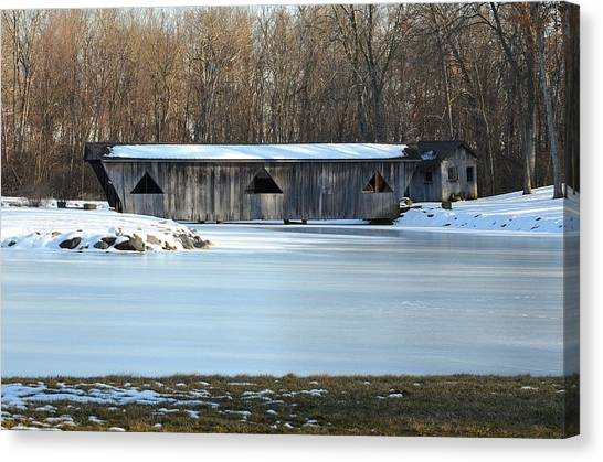 Winter Covered Bridge Canvas Print by Jennifer  King