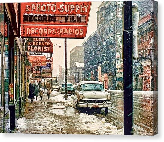 Winter Day On Euclid Avenue Canvas Print