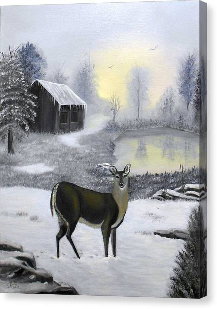Winter Doe Canvas Print