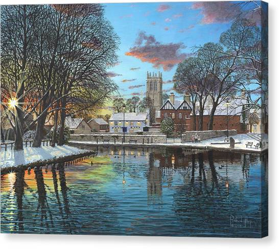 St Mary Canvas Print - Winter Evening Tickhill Yorkshire by Richard Harpum
