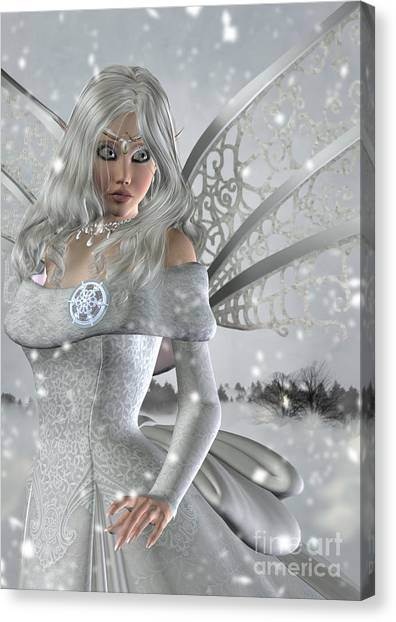 Winter Fairy In The Snow Canvas Print