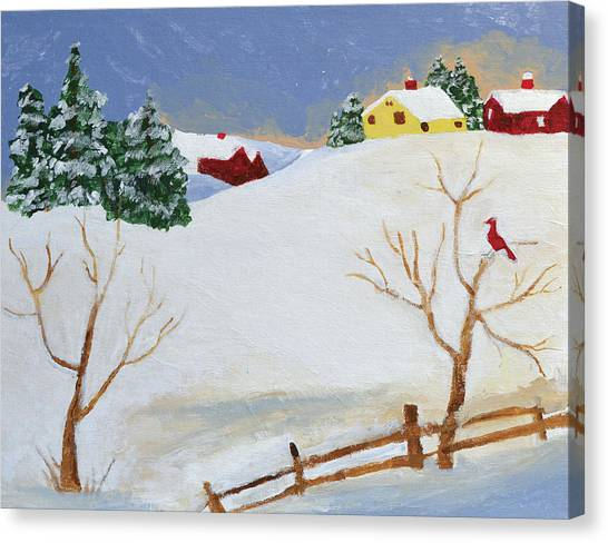 Cardinals Canvas Print - Winter Farm by Bryan Penzer