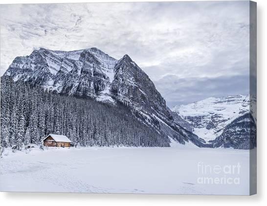 Log Cabin Canvas Print - Winter Getaway by Evelina Kremsdorf