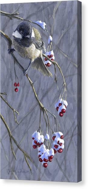 Chickadees Canvas Print - Winter Harvest 1 Chickadee Painting by Karen Whitworth