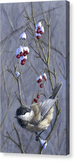 Winter Harvest 2 Chickadee Painting Canvas Print