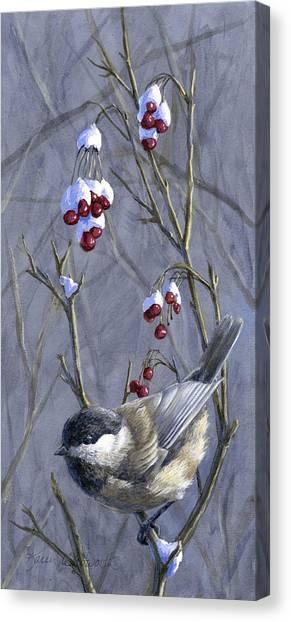 Chickadees Canvas Print - Winter Harvest 2 Chickadee Painting by Karen Whitworth