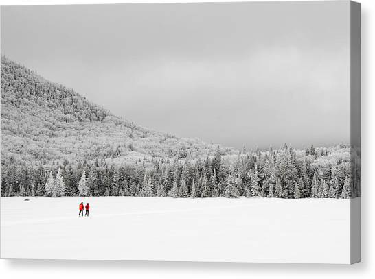 Winter Hikers On Lonesome Lake Canvas Print by Ken Stampfer